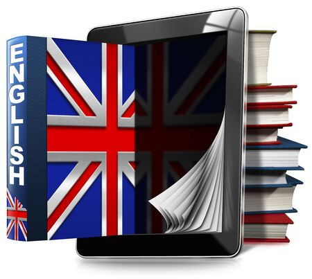english book: Black tablet computer with pages and an English book, a stack of books and Uk flag. Isolated on white background