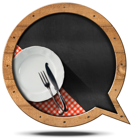 dinner menu: Blackboard with wooden frame in the shape of a speech bubble, empty white plate and silver cutlery. Template for recipes or food menu Stock Photo