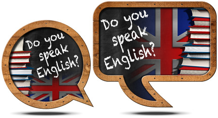 speak english: Two chalkboards with wooden frame in the shape of speech bubble with text Do you speak English Books and uk flag Stock Photo