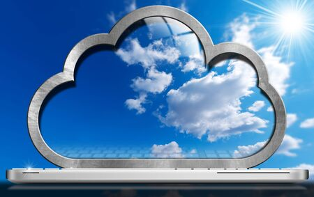 service: Laptop computer with a screen in the shape of a cloud with a blue sky and clouds. Concept of cloud computing