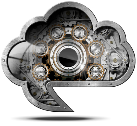 metal gears: Metallic cloud in the shape of speech bubble with metal gears. Concept of cloud computing Stock Photo