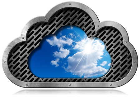 services: Metallic symbol in the shape of a cloud with a blue sky and clouds. Concept of cloud computing