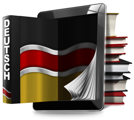 talking dictionary: Black tablet computer with pages and an German book, a stack of books and German flag. Isolated on white background Stock Photo
