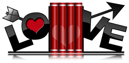 Four red love books with heart and bookends in the shape of arrow and text Love. Isolated on white background