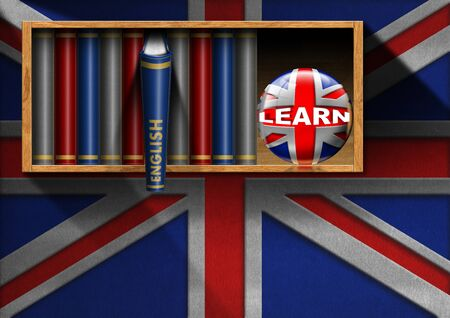 'english: Wall with Uk flag, a bookcase with English books and bookend sphere with uk flag and text Learn. Learn English concept Stock Photo