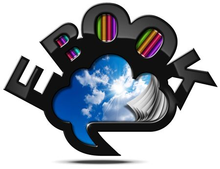 ereader: Speech bubble in the shape of a cloud with sky and clouds, curled pages and text E-book in the shape of modern library Stock Photo