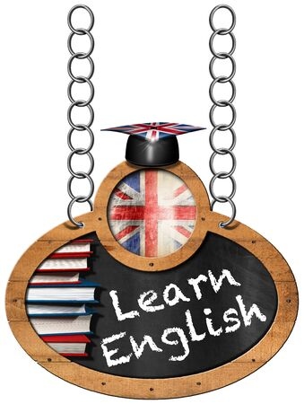 wooden hat: Blackboard with wooden frame, uk flag, a stack of books, graduation hat and text Learn English. Hanging from a metal chain and isolated on white
