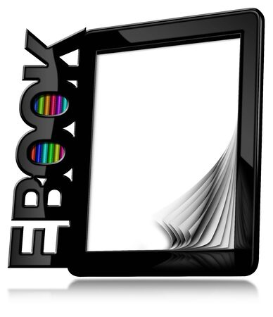Black modern ebook reader with blank curled pages with text Ebook and colorful books. Isolated on white background