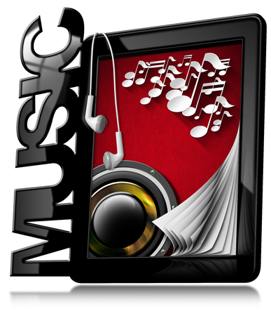 woofer: Black tablet computer with text Music, musical notes, woofer and earphones. Isolated on white background