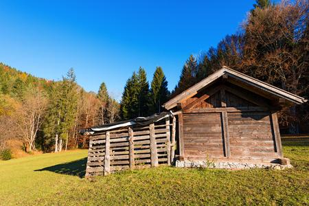 sella: Typical wooden shed in Italian Alps - Val di Sella Sella Valley, Borgo Valsugana, Trento, Italy Stock Photo