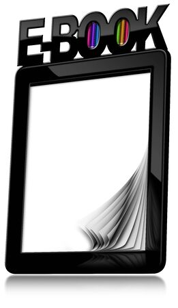 ebook reader: Black modern ebook reader with blank curled pages with text Ebook and colorful books. Isolated on white background