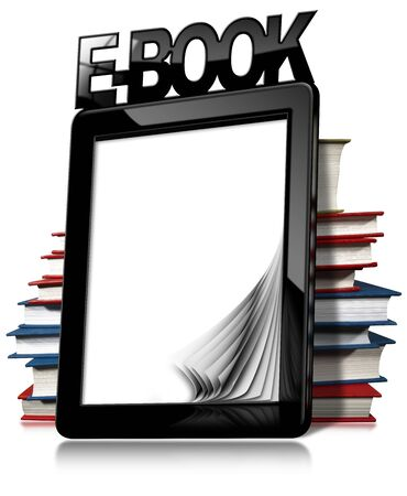 ebook: Black modern ebook reader with blank curled pages, text Ebook and a stack of books. Isolated on white background