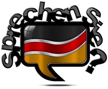 deutsch: Speech bubble with German flag and text, Sprechen Sie Deutsch Do you speak German Isolated on white background