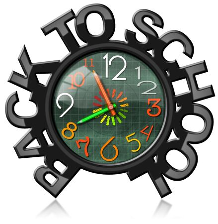 analog clock: Green blackboard with black frame in the shape of text Back to school with colorful clock. Isolated on white background