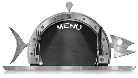 steel frame: Blackboard with steel frame in the shape of fish and serving dome with silver cutlery and text Menu. Isolated on white background Stock Photo