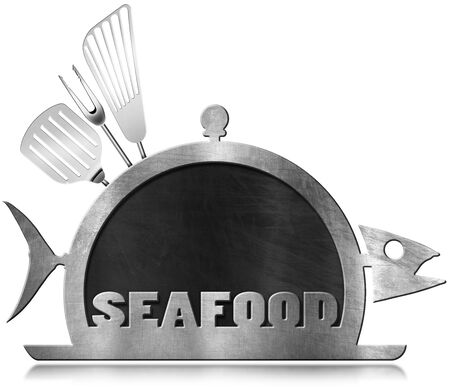 steel frame: Blackboard with steel frame in the shape of fish and serving dome with kitchen utensils and text Seafood. Isolated on white background