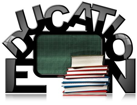 scholastic: Empty green blackboard with black frame in the shape of text Education and a stack of books. Isolated on white background