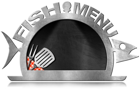 steel frame: Blackboard with steel frame in the shape of fish and serving dome with kitchen utensils and text Fish Menu. Isolated on white background