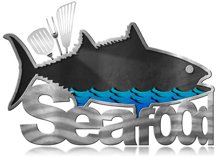 blue white kitchen: Blackboard with metal frame in the shape of fish with text Seafood, kitchen utensils and blue sea waves. Isolated on white background Stock Photo