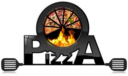ピザ、炎、本文ピザとへらのスライスと黒のシンボル。白い背景に分離 写真素材