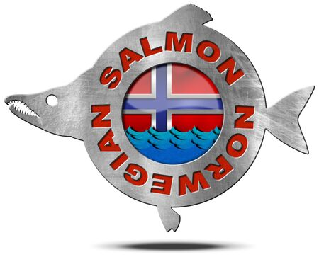 norwegian flag: Metallic icon or symbol in the shape of a salmon fish with text Norwegian salmon, blue waves and Norwegian flag. Isolated on a white background