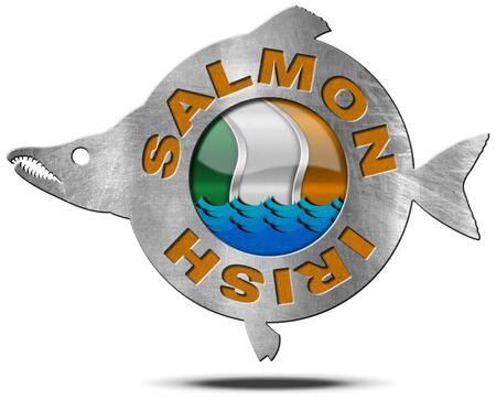 Metallic icon or symbol in the shape of a salmon fish with text Irish Salmon, blue waves and Irish flag. Isolated on a white background
