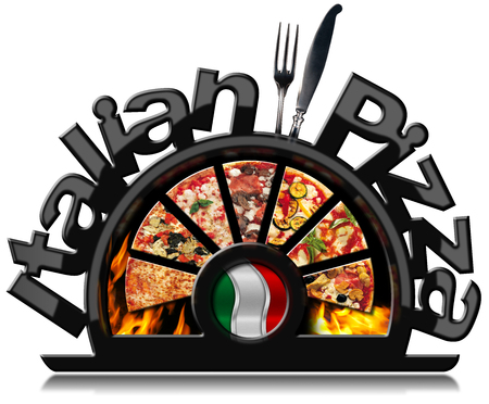 Black symbol with pizza slices, flames, text Italian Pizza, silver cutlery and Italian flag. Isolated on white background
