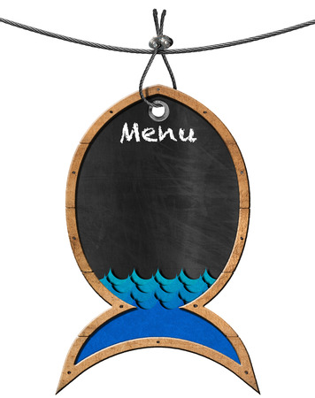 steel cable: Empty blackboard with wooden frame in the shape of fish and blue waves. Isolated on white and hanging from a steel cable