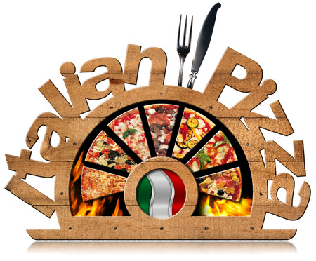 silver cutlery: Wooden symbol with pizza slices, flames, text Italian Pizza, silver cutlery and Italian flag. Isolated on white background Stock Photo