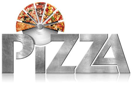 金属のアイコンやシンボル テキスト ステンレス ピザ カッターとピザのスライスのピザを。白い背景に分離