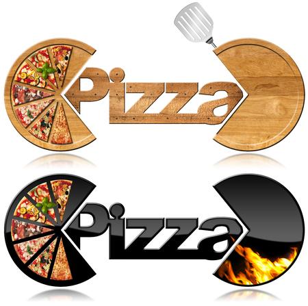 Twee symbolen met de plakjes pizza, tekst Pizza, vlammen en spatel. Geïsoleerd op witte achtergrond