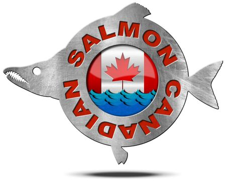 canadian flag: Metallic icon or symbol in the shape of a salmon fish with text Canadian salmon, blue waves and canadian flag. Isolated on a white background