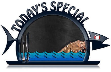 fishing net: Blackboard with dark blue frame in the shape of fish and serving dome with text Todays Special, cutlery, sea waves, fishing net and lifebuoy