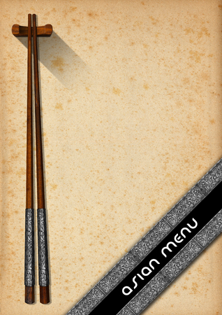 yellowed: Template for an Asian menu with wooden and silver chopsticks on an yellowed old paper with diagonal silver bands