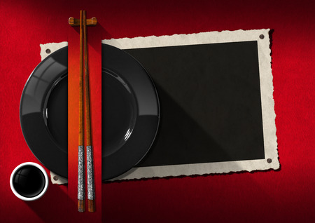 blank business card: Empty photo frame with black plate, wooden and silver chopsticks, a cup of sauce. Template for an elegant Asian restaurant menu