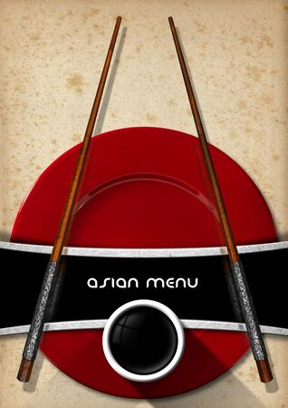 yellowed: Template for an Asian menu with wooden and silver chopsticks, red plate and a bowl of sauce. On a yellowed old spotted paper Stock Photo