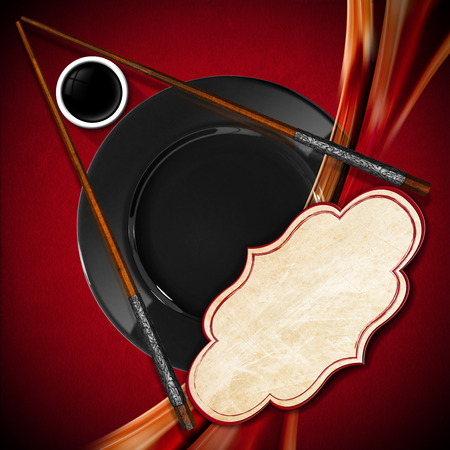 empty bowl: Template for an Asian menu with wooden chopsticks, black plate and a bowl of sauce. On a red and orange background with empty label