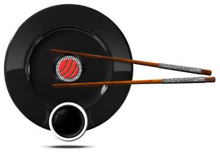 sushi  plate: Sushi symbol with black plate, wooden and silver chopsticks, sushi roll and a cup of sauce. Isolated on white background