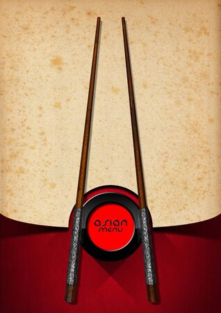 yellowed: Template for an Asian menu with wooden and silver chopsticks on an yellowed old paper and red velvet background