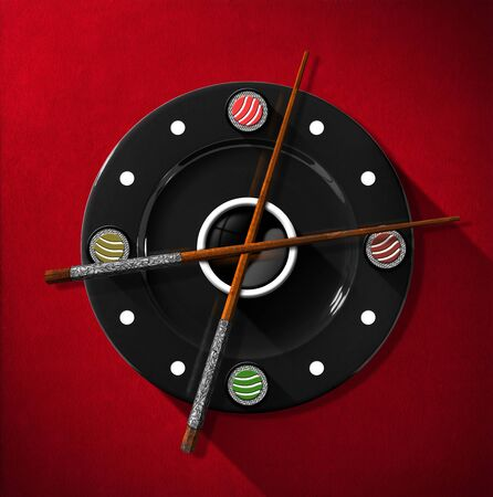 black clock hands: Clock composed by a black plate with wooden and silver chopsticks in the place of the clock hands and four sushi rolls. On a red velvet background