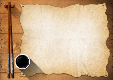 speisekarte: Leere Pergament auf einem Holztisch mit Silber und Holz-St�bchen und eine Sch�ssel mit So�e. Vorlage f�r eine asiatische K�che Men� Lizenzfreie Bilder