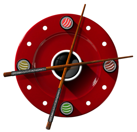 sushi  plate: Clock composed by a red plate with wooden and silver chopsticks  in the place of the clock hands and four sushi rolls. Isolated on white background Stock Photo