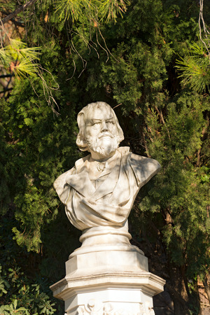 meran: Detail of the marble bust of the Doctor Franz Tappeiner 1816-1902, botanist and anthropologist in Merano, Bolzano, Trentino Alto Adige, Italy Editorial