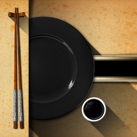 yellowed: Template for an Asian menu with wooden and silver chopsticks, black plate and a bowl of sauce. Black band with space for text on yellowed paper