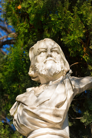 Detail of the marble bust of the Doctor Franz Tappeiner 1816-1902, botanist and anthropologist in Merano, Bolzano, Trentino Alto Adige, Italy Stock Photo