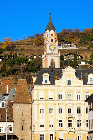meran: The city of Merano with the bell tower of the Cathedral of St. Nicholas 1302-1465. Bolzano, Trentino Alto Adige, Italy Stock Photo