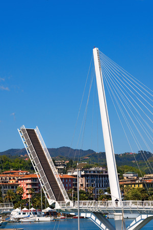 movable: View of the Bridge of Thaon Revel movable bridge in La Spezia harbor at day - Liguria Italy