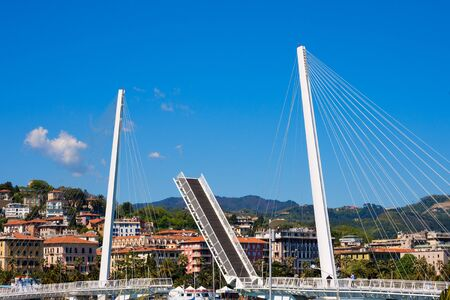 movable bridge: View of the Bridge of Thaon Revel movable bridge in La Spezia harbor at day - Liguria Italy