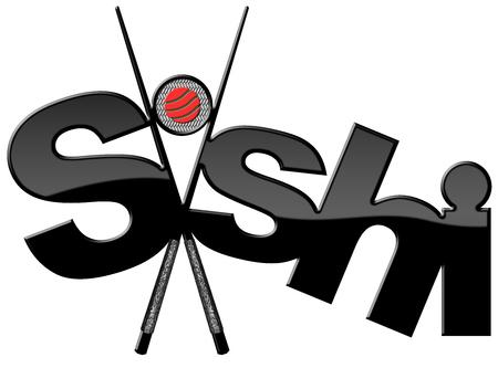 sushi chopsticks: Sushi symbol with black and silver chopsticks, sushi roll and text Sushi. Isolated on white background