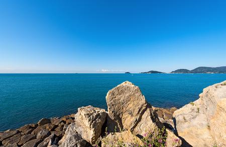 golfo: Panorama of the Gulf of La Spezia The Gulf of Poets Liguria Italy, in the background Portovenere, Palmaria Island and Tino